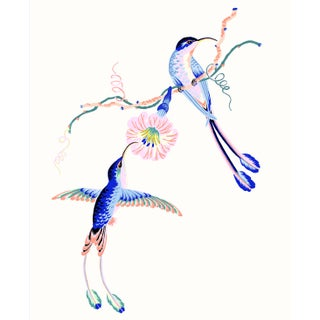 Contemporary Hummingbird Giclée Print in Cream For Sale