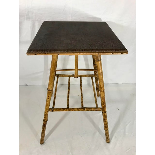 Brown English Victorian Bamboo Side Table For Sale - Image 8 of 8