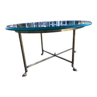 Rare Mastercraft Solid Brass Faux Bamboo Hoofed Feet Base Thick Glass Top Side Table For Sale