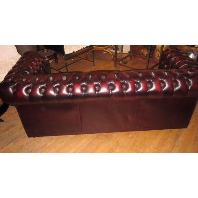 Red Vintage 20th Century Oxblood Burgundy Classic Tufted English Chesterfield Sofa For Sale - Image 8 of 11