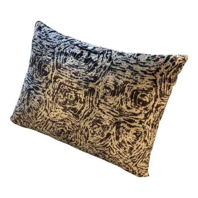Contemporary Faux Bois Styled Custom Pillow in Stroheim Velvet Fabric For Sale In Houston - Image 6 of 6