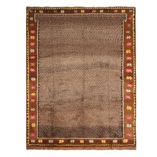 Vintage Mid-Century Beige and Brown Wool Rug With Pastel Accents For Sale