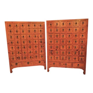 Vintage Asian Apothecary Chests, 45 Labeled Drawers Each - a Pair For Sale