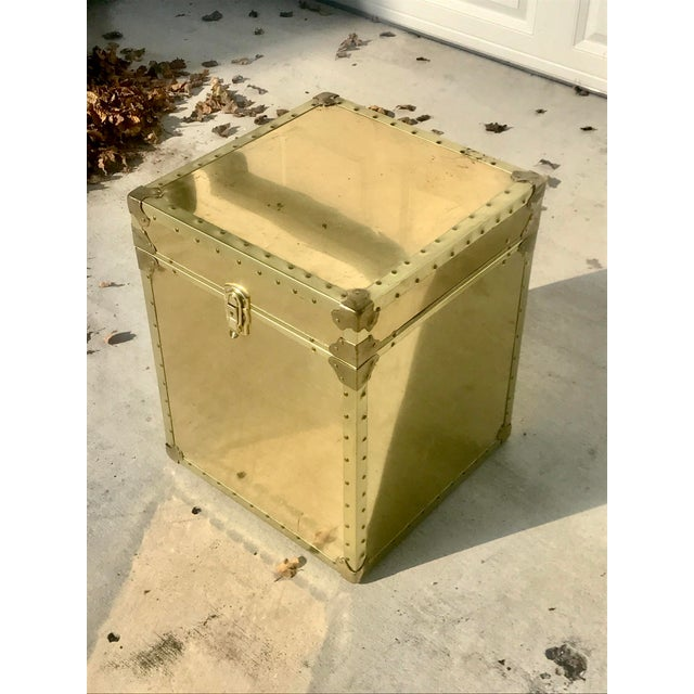 Beautiful vintage gold metal trunk. Perfect to use as a side table, nightstand or as a coffee table. Great storage for...