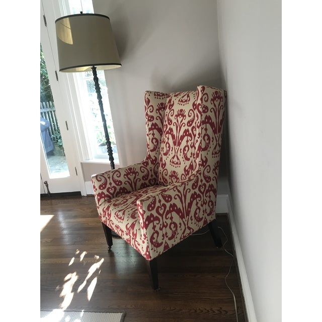 Classic Wingedback chair. Silk upholstery. Excellent condition.