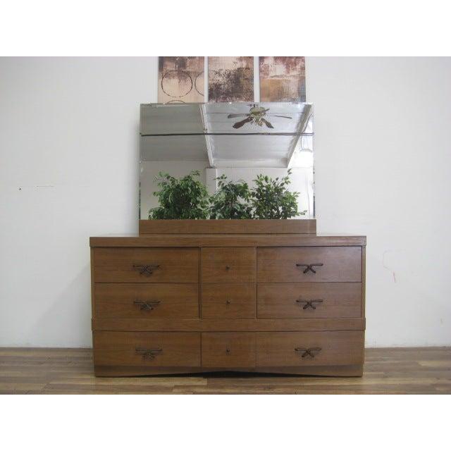 Mid Century Modern Dresser With Vanity Mirror - Image 6 of 9