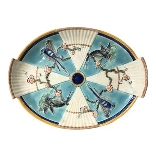 Wedgwood Majolica Serving Platter With Birds and Fans For Sale