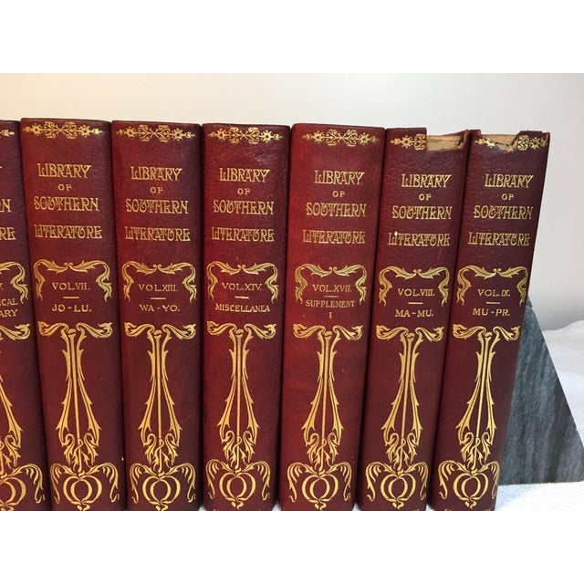Antique Red Leather Library of Southern Literature Books - Set of 17 For Sale - Image 5 of 11