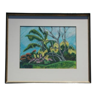 Vintage Tropical Hawaiian Landscape Pastel Drawing For Sale