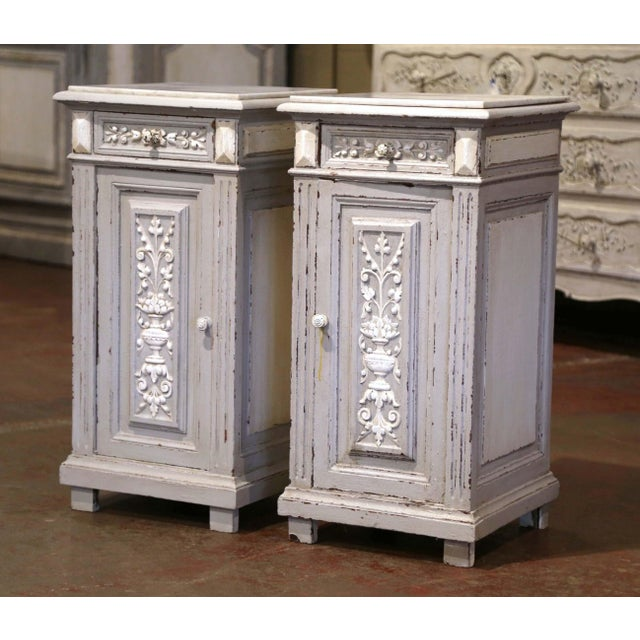 Pair of 19th Century French Carved Painted Nightstands With Marble Top For Sale - Image 10 of 10