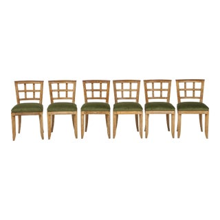 Set 6 French Mid-Century Modern Cerused Oak Dining Chairs For Sale