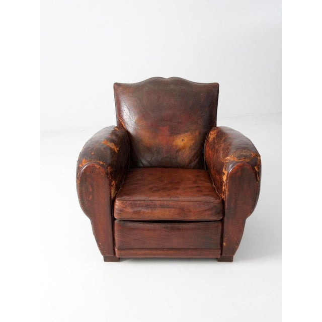 Antique French Distressed Leather Club Chair For Sale - Image 10 of 11 - Antique French Distressed Leather Club Chair Chairish