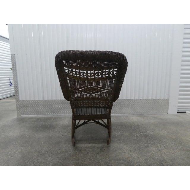 Wicker Victorian Heywood Wakefield Wicker Rocking Chair For Sale - Image 7 of 13