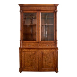 Antique English Walnut Cabinet 19th Century For Sale
