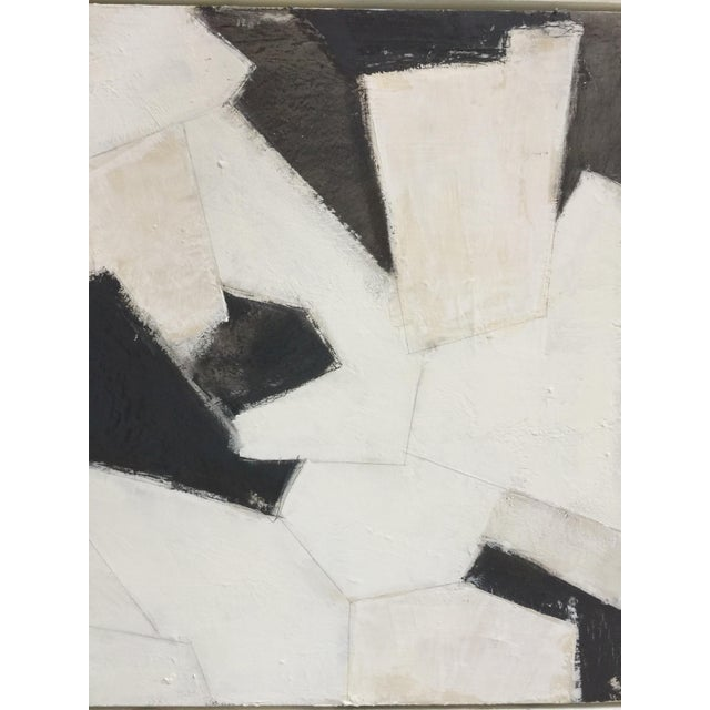 Black, White and Beige Abstract Painting For Sale - Image 4 of 8