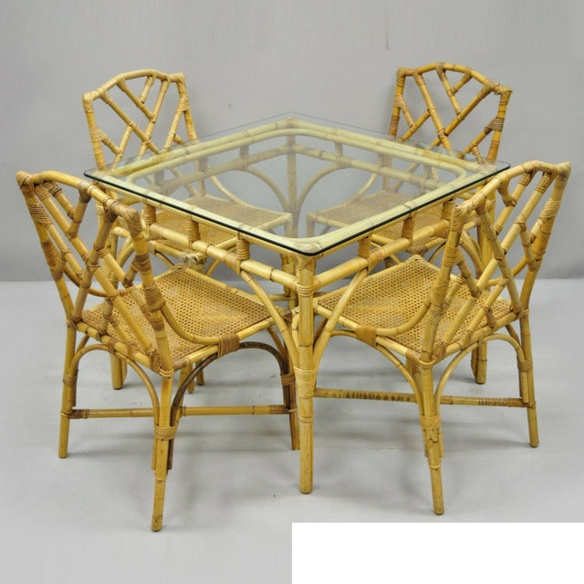5 Piece Bamboo Rattan Faux Bamboo Chinese Chippendale Boho Chic Dining Set. Listing includes (4) side chairs, (1) dining...