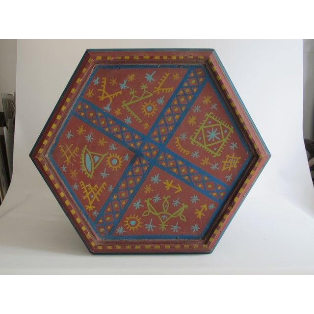 Moroccan Green & Red Carved Wood Side Table For Sale In Los Angeles - Image 6 of 9