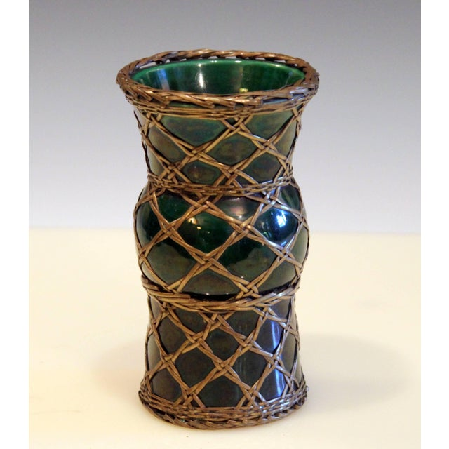 """Antique Awaji pottery vase in Gu form with green glaze and brass over weaving, circa 1910. Measure: 6"""" high, 3 1/4""""..."""