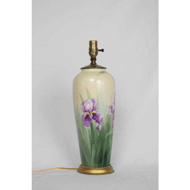 Restored Early 20th Century Austrian Hand Painted Iris Lamp. For Sale - Image 4 of 9