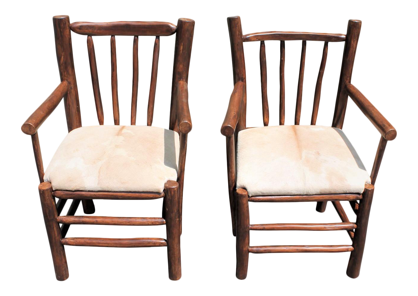 Pair Of Rustic Hickory Chairs With Cow Hide Seats For Sale