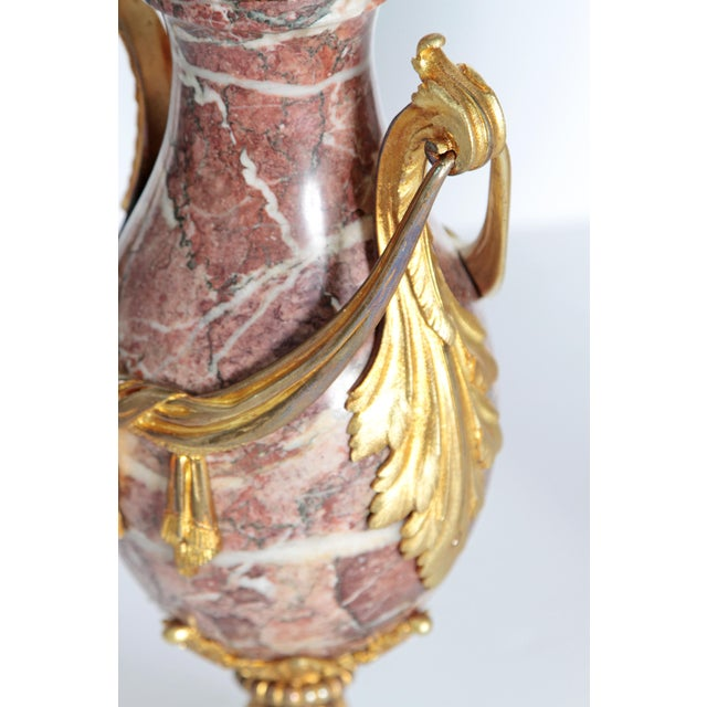 Pair of 19th Century Louis XVI Style Marble and Ormolu Mounted Cassolettes - Image 9 of 11