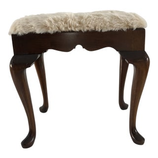 1980s Vintage Mahogany Queen Anne Style Faux Fur Bench For Sale