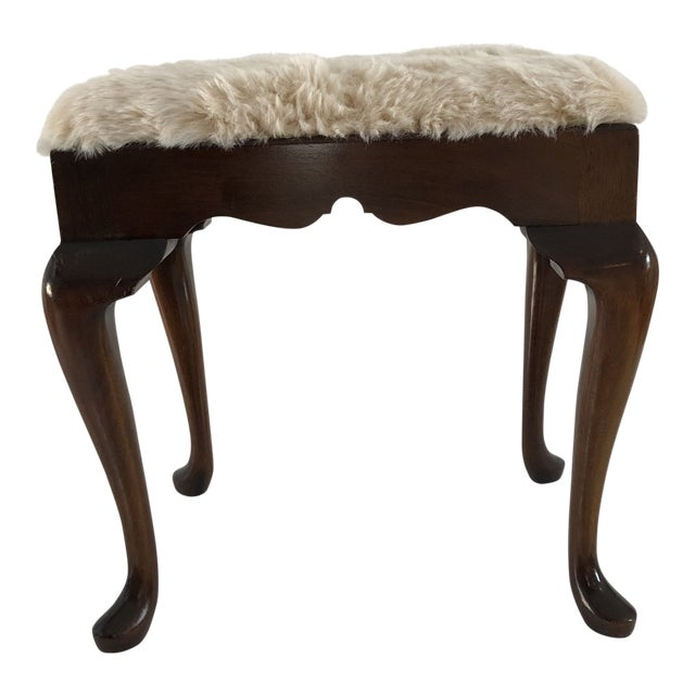 Fabulous 1980S Vintage Mahogany Queen Anne Style Faux Fur Bench Andrewgaddart Wooden Chair Designs For Living Room Andrewgaddartcom
