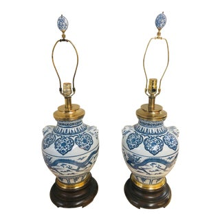 Vintage 1960s Frederick Cooper Blue Porcelain Lamps - a Pair For Sale