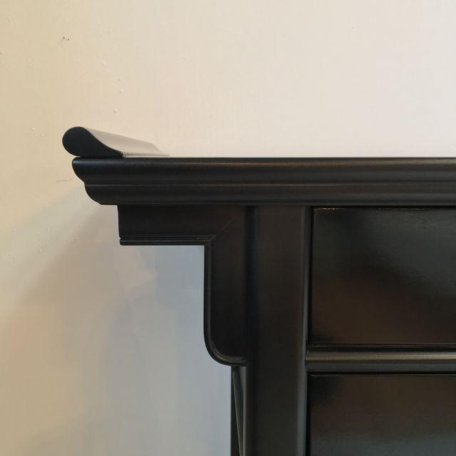 Century Black Console with Brass Hardware - Image 8 of 10