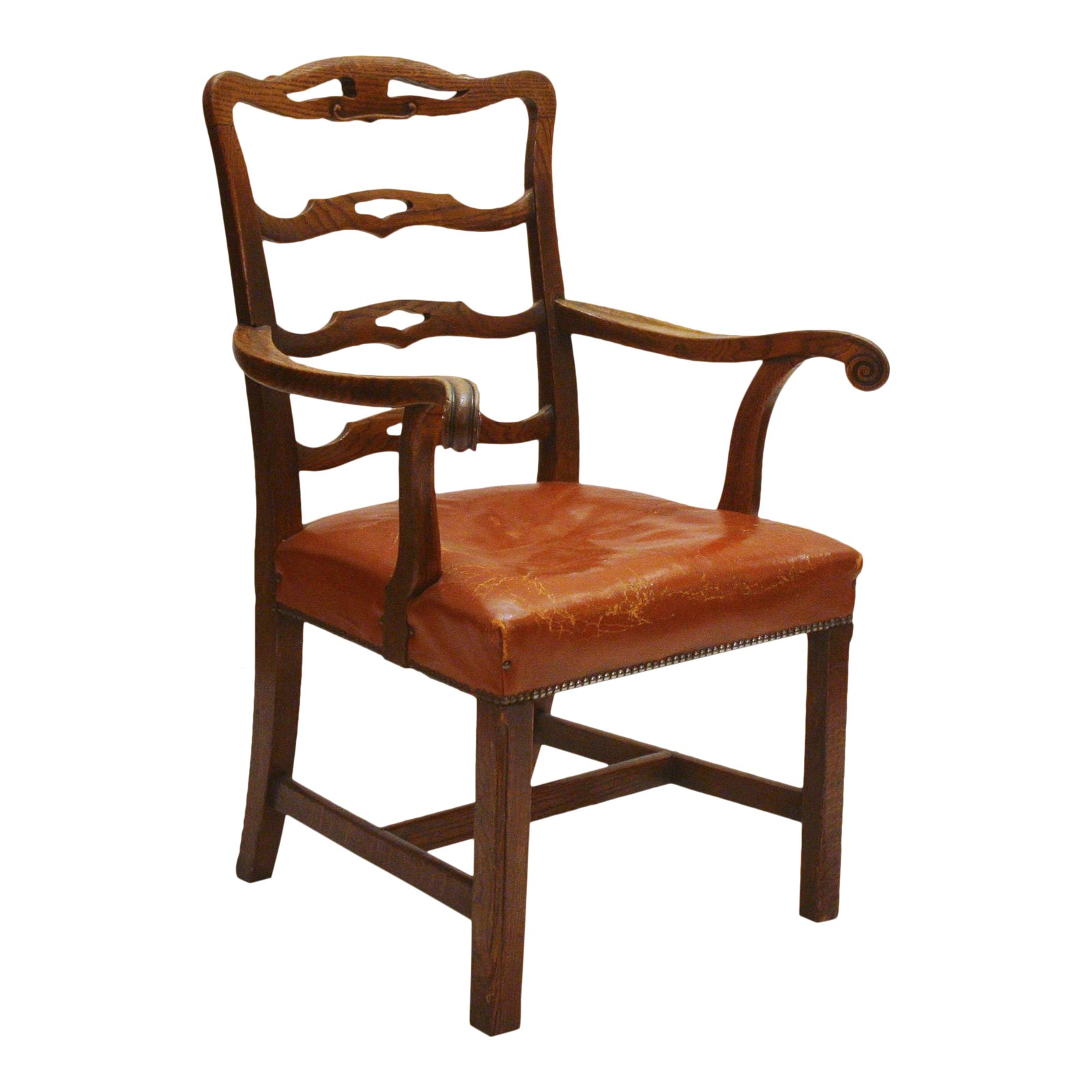 Fine English Host Chair Ladderback Arm Chair With
