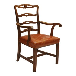 English Host Chair / Ladderback Arm-Chair With British Tan Saddle Leather Seat For Sale