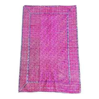 Hand Embroidered Silk Wedding Quilt Throw Rug For Sale