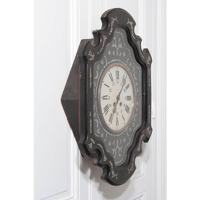 French 19th Century Napoleon III Ebony Wall Clock For Sale In Baton Rouge - Image 6 of 7
