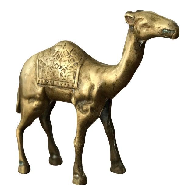 Vintage Solid Brass Camel Figurine For Sale