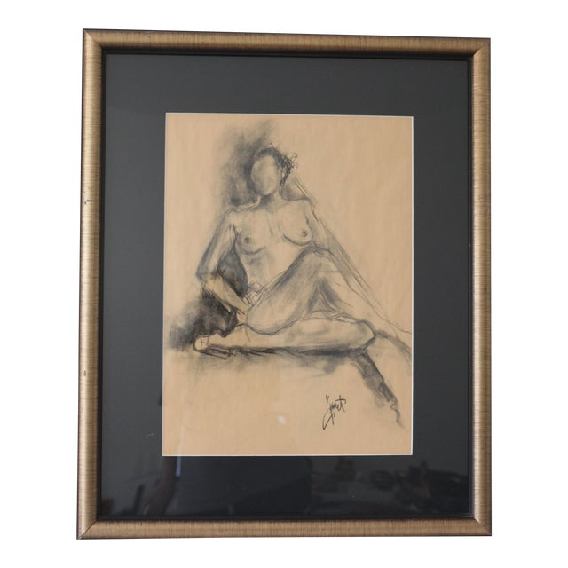 Framed Charcoal Drawing of Nude Woman - Image 1 of 5