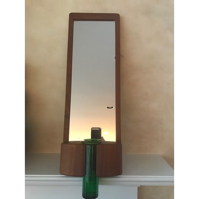 Randers Møbelfabrik Danish Modern Teak Mirror W/ Green Vase For Sale In New York - Image 6 of 7