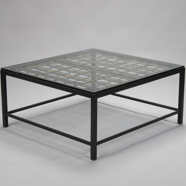 Glass Custom Coffee Table Made from French Decorative Metal Grill For Sale - Image 7 of 9