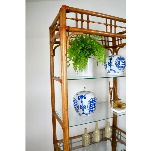 McGuire Style Rattan Etageres - A Pair For Sale - Image 10 of 11