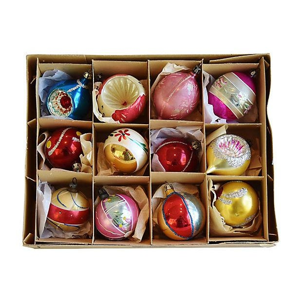 Mid Century Fancy Christmas Ornaments w/Box - Set of 12 - Image 2 of 7
