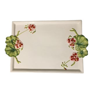 Vintage Italian Majolica Serving Tray With Trompe l'Oiel Lily Pads For Sale