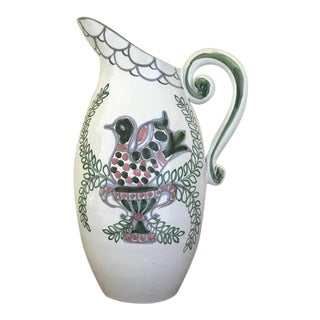 Late 20th Century Vintage Italian Hand Painted Pitcher For Sale