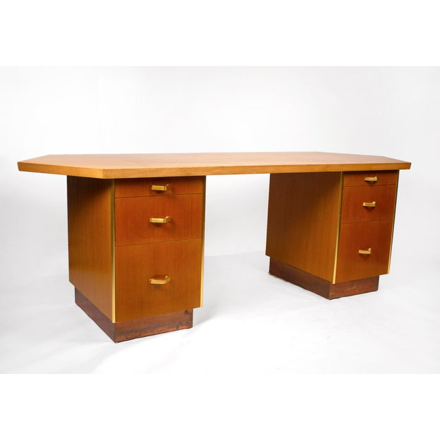 Metal Custom Designed Frank Lloyd Wright Double Pedestal Desk for the Price Tower For Sale - Image 7 of 7