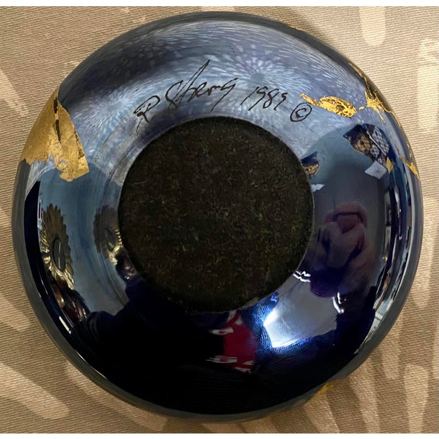 1980s Vintage Abstract Iridescent Art Studio Glass Paper Weight, Signed For Sale - Image 4 of 6