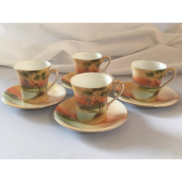 Handpainted Noritake Windmill Scene Cups & Saucers - Set of 4 For Sale - Image 11 of 11