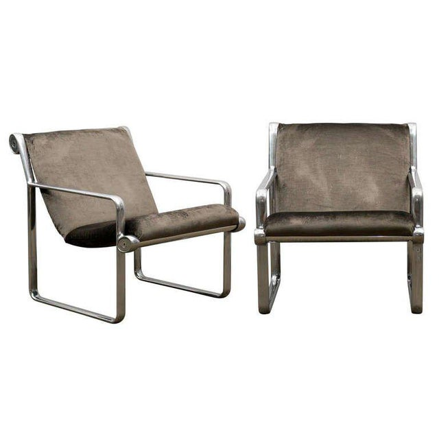 Rare Pair of Aluminum Lounge Chairs by Hannah/Morrison for Knoll For Sale - Image 10 of 10
