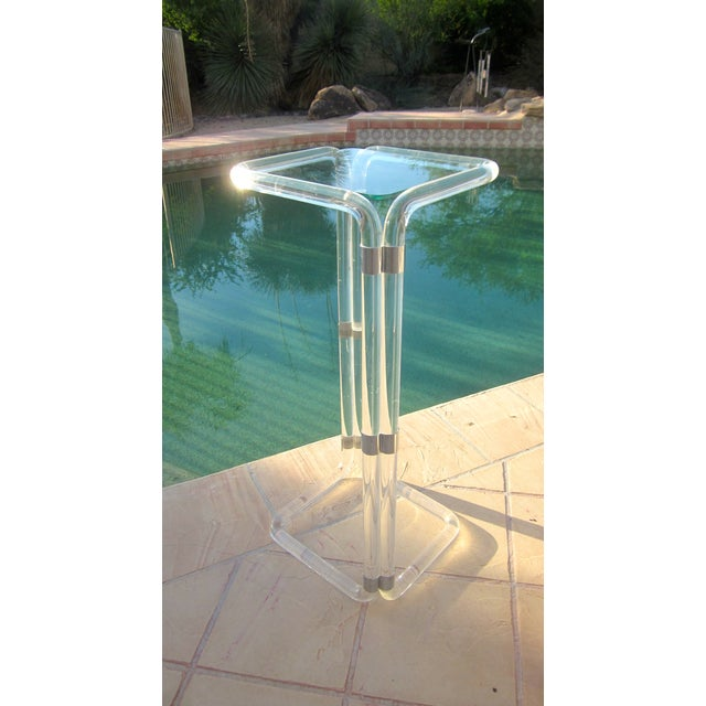 Thick Banded Lucite Pedestal Stand Table - Image 7 of 11