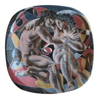 Hans Erni Decorative Plate with Human Figure Design