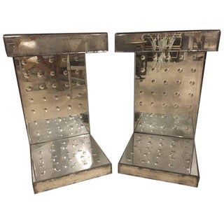 Pair of Bulls-Eye Mirrored Lamp Tables For Sale