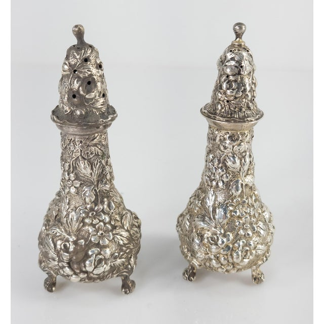 We are selling this nice pair of Sterling silver salt and pepper shakers. The salt and pepper shakers have very nice...