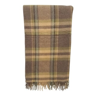 Merino Wool Throw Soft Light Beige Green Blue Purple Plaid - Made in England For Sale